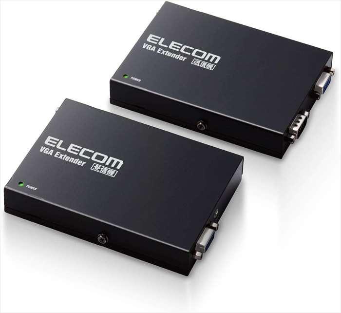 【沖縄・離島配送不可】【代引不可】VGAエクステンダー VGA出力 映像 音声 データ伝送 ローカル出力機能付き ブラック エレコム VEX-VGA3001S