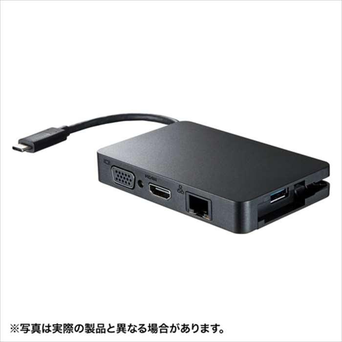 【沖縄・離島配送不可】USB Type-C マルチ変換アダプタ with LAN USB3.1/3.0+Type-C(給電)+LANポート付き 変換アダプタケーブル サンワサプライ AD-ALCMHVL