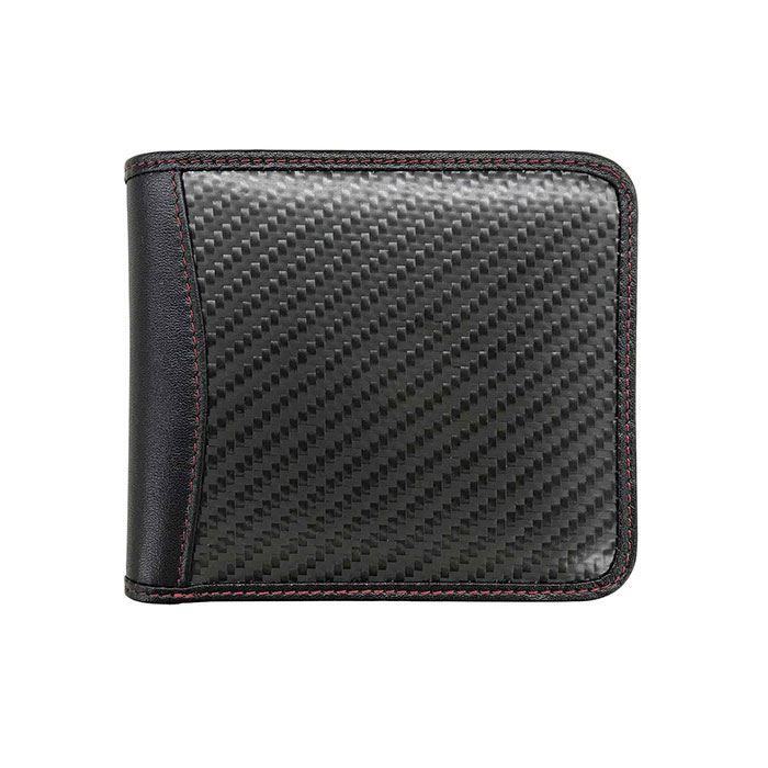 【沖縄・離島配送不可】GT-MOBILE リアルカーボン 二つ折財布 ブラック 本革 レザー メンズ 財布 ウォレット エアージェイ GTR-GT1