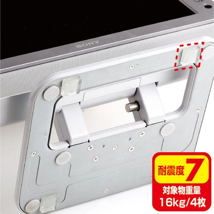 無色透明なスチレン系エラストマー素材の耐震ゴムでキレイに地震対策 100枚入り簡易パッケージ・小サイズ 透明両面粘着ゴム(小)100枚入り サンワサプライ QL-E76CL-25
