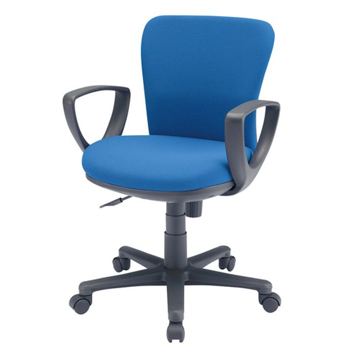 【代引不可】OAチェア ブルー 背もたれと座面にモールドウレタンフォーム 包まれるようなフィット感のオフィスチェア サンワサプライ SNC-022KBL