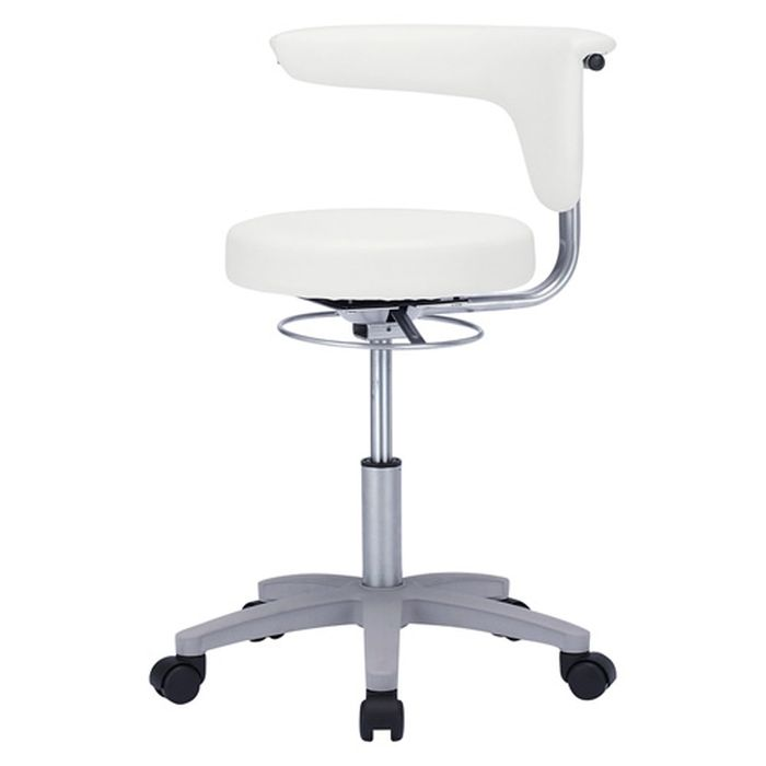 【沖縄・離島配送不可】【代引不可】メディカルチェア ホワイト 背もたれにも肘かけにもなる2WAY肘を装備 病院向けのビニールレザー張りの丸椅子 サンワサプライ SNC-HP3VW2