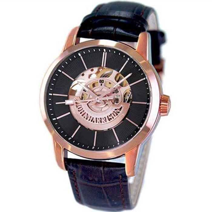 【沖縄・離島配送不可】ジョンハリソン 腕時計 ウォッチ 高速回転大型テンプ付 両面スケルトン 自動巻&手巻 高級 ブランド メンズ J.HARRISON JH-1946PB