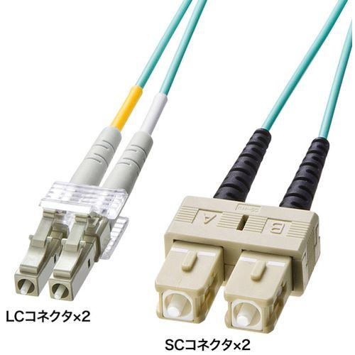 【沖縄・離島配送不可】サンワサプライ OM3光ファイバケーブル 製品型番:HKB-OM3LCSC-10L