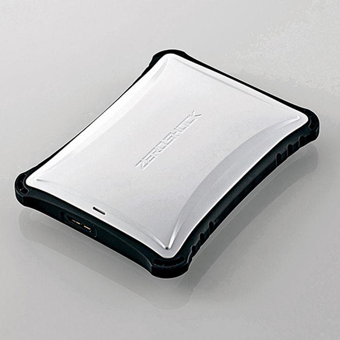 【沖縄・離島配送不可】【代引不可】ZEROSHOCKポータブルハードディスク USB3.0/2.0 1TB ホワイト エレコム ELP-ZS010UWH