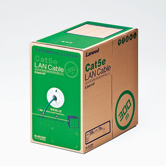 EU RoHS指令準拠 LANケーブル(Cat5e 単線) 300m ダークグリーン エレコム LD-CT2/DG300/RS