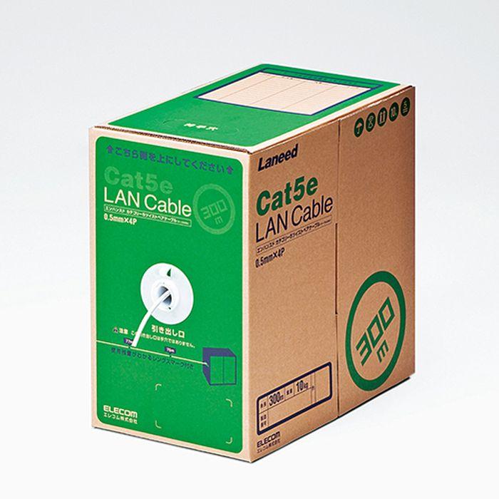 【沖縄・離島配送不可】【代引不可】EU RoHS指令準拠 LANケーブル(Cat5e 単線) 300m ホワイト エレコム LD-CT2/WH300/RS