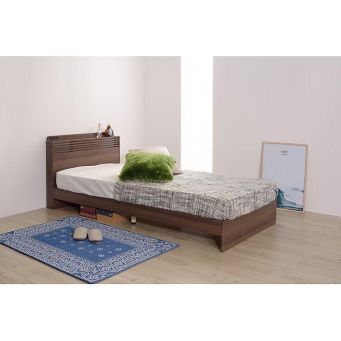 ベッド BED ベッドボード ベッドフレーム コンセント付 照明付 ダークブラン 木目 東谷 B-82S-BR