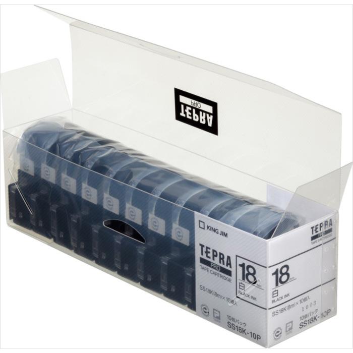 【キングジム】【テプラ】PROテープ 白ラベル 黒文字 10個パック 製品型番:SS18K-10P
