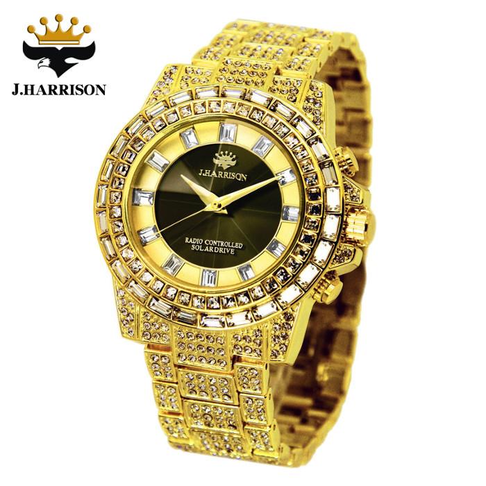 腕時計 電波時計 ソーラー時計 シャイニングソーラー電波時計 ゴールド ジョン・ハリソン いつでも正確な時間 定期的な電池交換不要