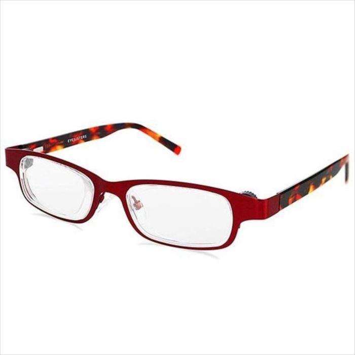 【沖縄・離島配送不可】アイジャスターズ 度数可変 シニアグラス オックスブリッジ ルビー&レッド 進行性老眼から夕方老眼までこれ一本 ハードケース付 老眼鏡 進行性老眼 夕方老眼 イギリス製 メテックス EYJOXB-RBRD