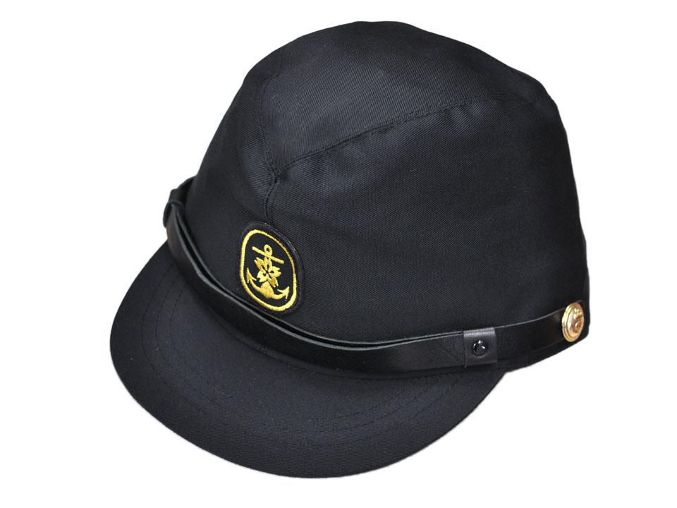 海上自衛隊の略章と耳章付きです いつでも送料無料 海上自衛隊 作業帽 黒 ◆高品質 自衛隊グッズ 士官用 L