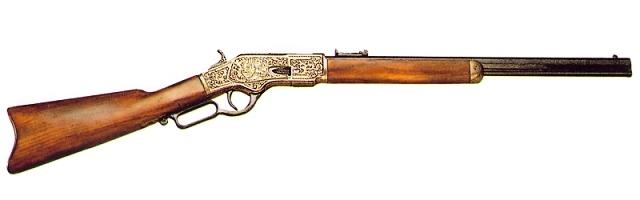 ウインチェスターM73(彫刻)ゴールド◆撮影用 演劇用 舞台用 小道具 装飾銃 西部劇 三銃士 海賊