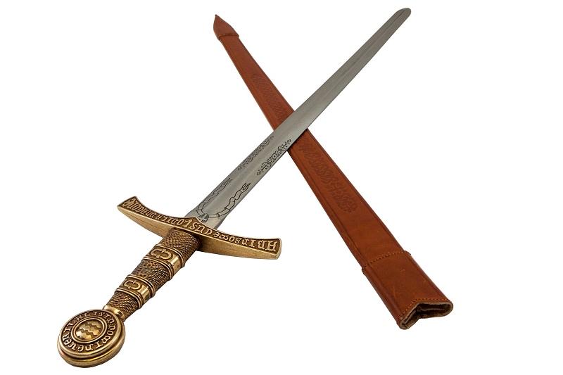 西洋刀剣 メディバルソード フレンチ レザーシース ゴールド◆中世の剣 騎士 コレクション 装飾