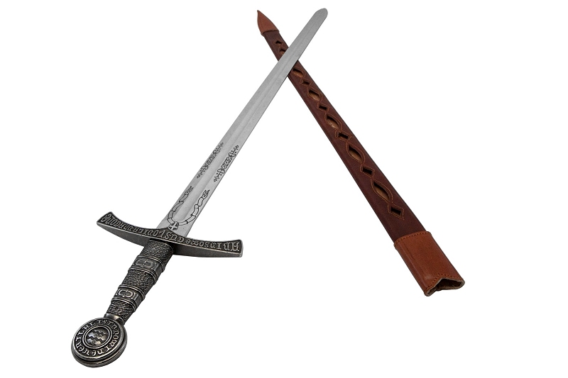 西洋刀剣 メディバルソード フレンチ レザーシース シルバー◆中世の剣 騎士 コレクション 装飾