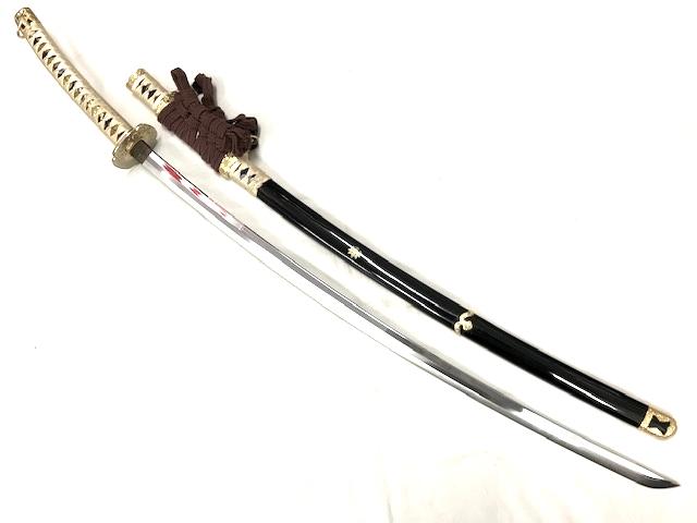 【中古】居合刀 源氏紋 黒呂塗 長尺太刀拵 鎬刀身◆日本刀 模造刀 平安時代 コレクション 装飾刀