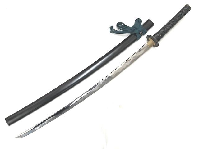 【中古】居合刀 黒石目鞘 黒牛革巻き 鎬刀身◆日本刀 模造刀 コレクション