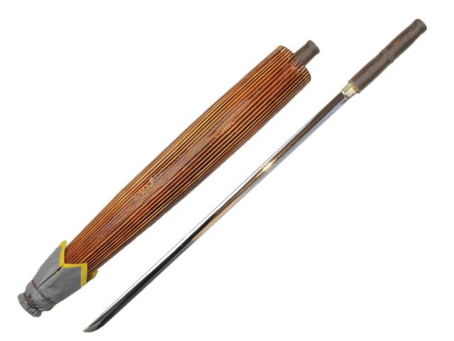 【時代劇コレクション】模造刀(美術刀) 仕込み番傘 古式竹彫