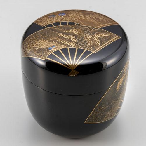 直営限定アウトレット 蒔絵の棗 茶道具 茶道 木箱付き 開店祝い 大棗扇面 棗