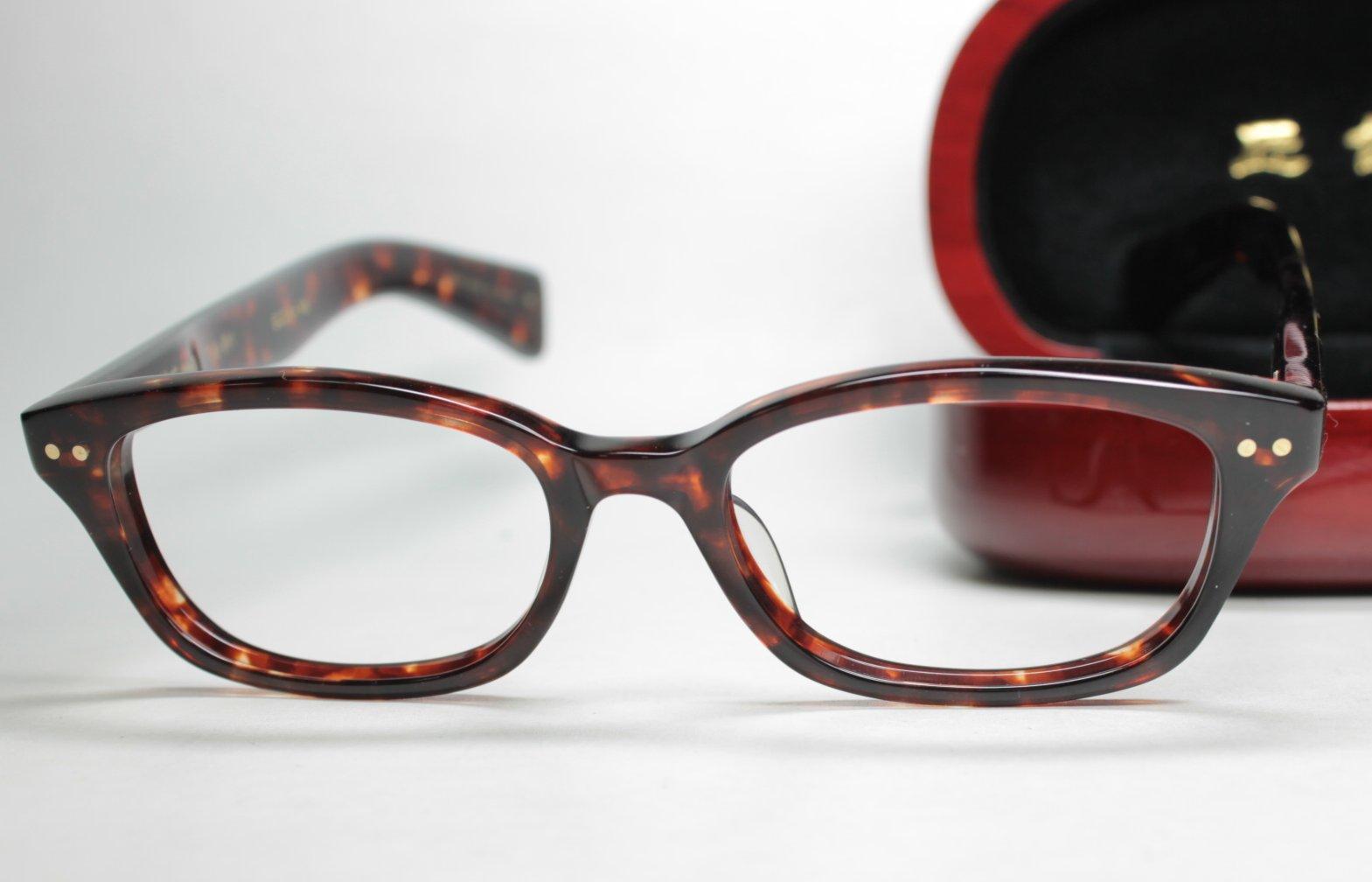 メガネ用度付きレンズ無料 角矢甚治郎眼鏡枠23其弐拾参 リ、デミ 10金飾り