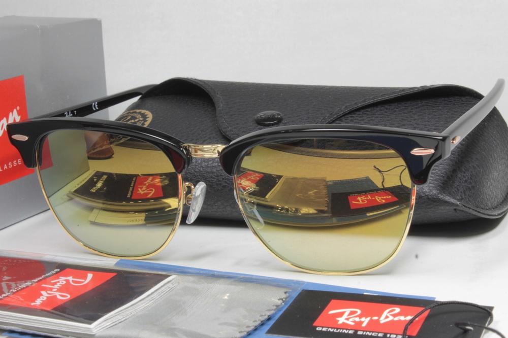 レイバン サングラス カスタム偏光 Ray-Ban CLUBMASTER RB3016F W365 BLACK / COMBEX Polawing SPX101 6C HMM GOLD