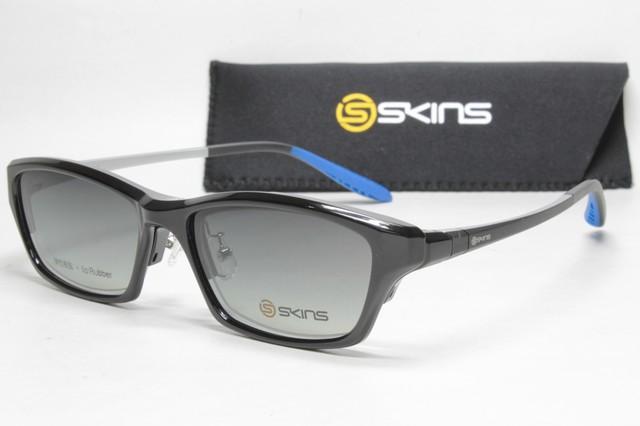 カスタム度付き偏光サングラス SKINS SK 108 Col.1 (1.60非球面度付きレンズセット)