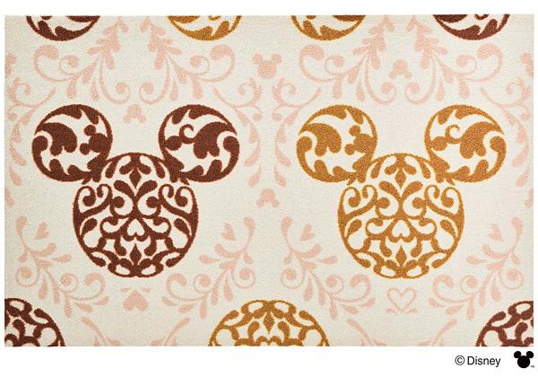Disney Mat Collection マット Mickey/ミッキー ロココ調 ブラウン 75cm×120cm(ディズニーのマット)
