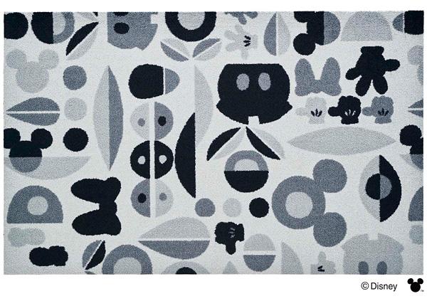 Disney Mat Collection マット Mickey/ミッキー&ミニー モチーフ グレー 75cm×120cm(ディズニーのマット)