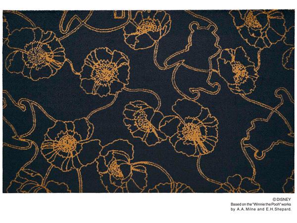 Disney Mat Collection マット Phoo/くまのプーさん アネモネ ブラック 75cm×120cm(ディズニーのマット)