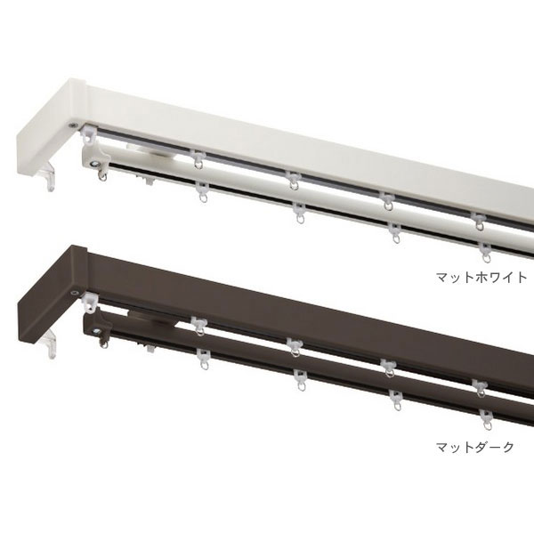 タチカワ カーテンレール フレシア サイドカバーW 3.1m ファンティアダブル正面付けセット