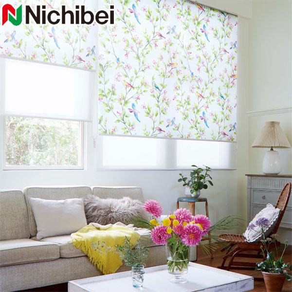 ニチベイ ロールスクリーン ソフィ ポエム 標準仕様 N9153 幅50cm×丈161~200cm