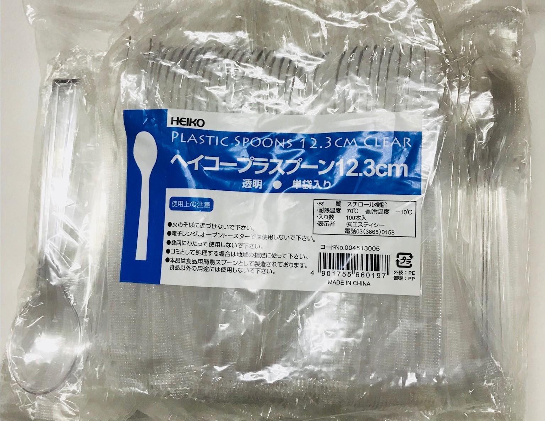 HEIKO プラスチックスプーン 12.3cm 透明 (個包装) 100本入