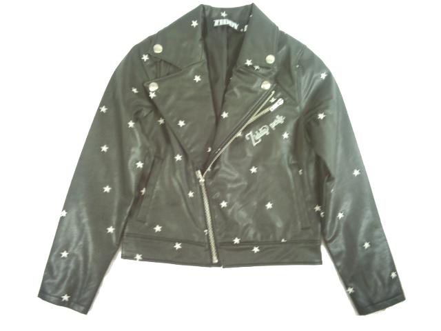 【セール】 ZIDDY(ジディー)★豪華星の刺繍フェイクレザーライダースジャケット