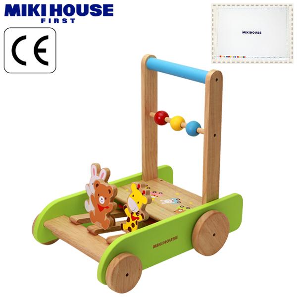 MIKI HOUSE(ミキハウス)★【箱付】くまちゃん・うさちゃん・キリンのベビーウッドウォーカー(1歳から)(手押し車)