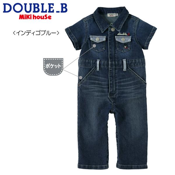MIKIHOUSE(ミキハウス)★【ダブルB】8オンスデニムの半袖カバーオール〈S-M(70cm-90cm)〉