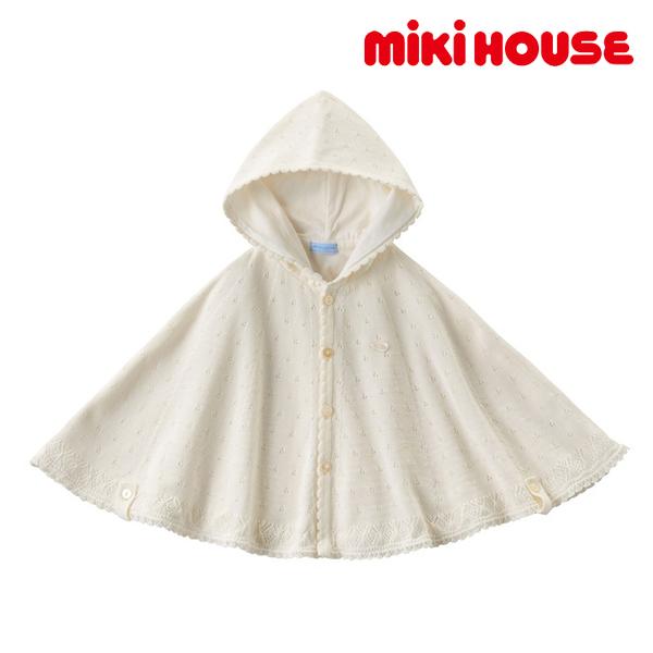 ミキハウス MIKI HOUSE 上品な透かし編みケープ 50 60 70 80 90cm フリー
