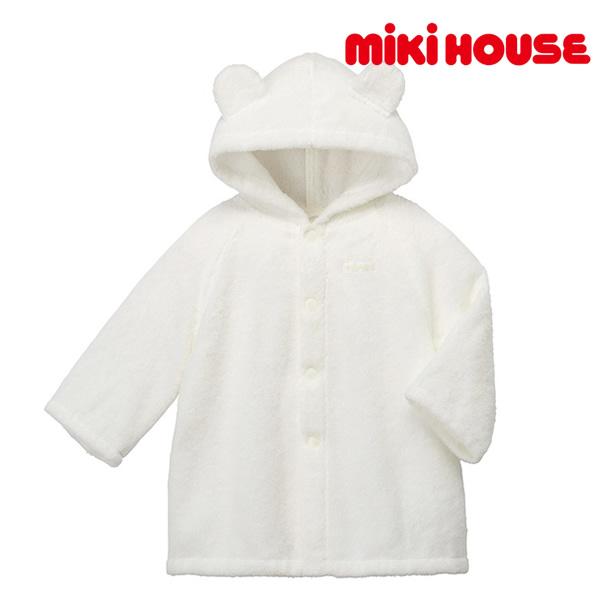 ミキハウス MIKI HOUSE ベビーバスローブ 白 ホワイト UVカット 紫外線カット 箱入
