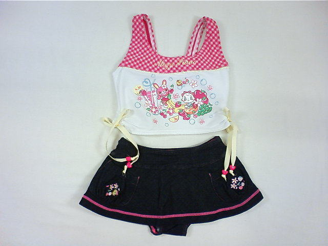 【セール】メゾピアノ★可愛いミミちゃんワンピース&パンツ付きスカート2点セットスイムウェア水着
