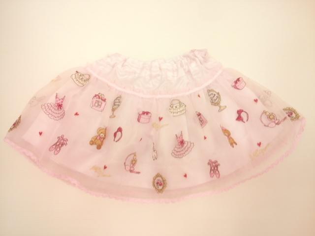 mezzopiano(メゾピアノ)クローゼットプリントシリーズ 豪華刺繍入りオーガンジーフレアスカート