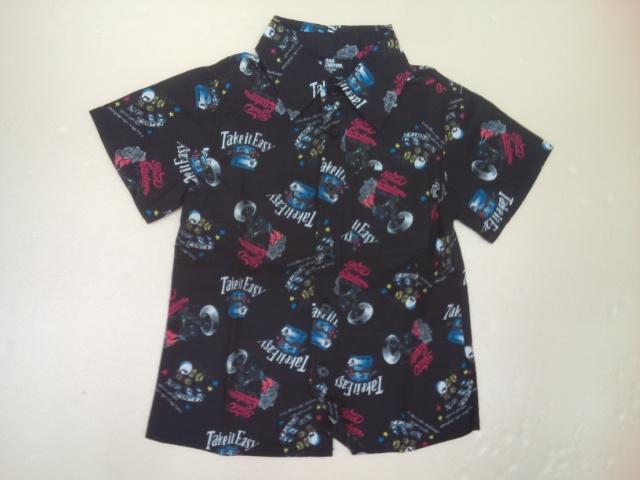 RADCUSTOM(ラッドカスタム)ボイルバイカープリント総柄の半袖シャツ