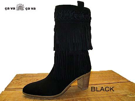 【cava cava 1601561 BLACK ブラック】レディース フリンジブーツ ロングブーツ