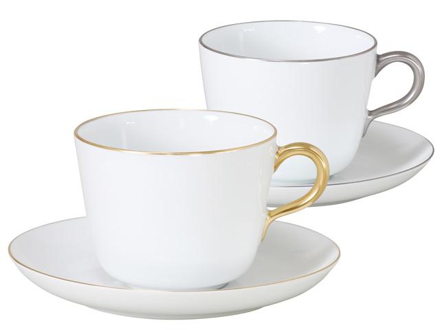 大倉陶園 日本製【大倉陶園 ゴールド&プラチナライン モーニングカップ&ソーサーペアセット 26CR/1001-2】洋食器 陶磁器 コーヒー 紅茶 ギフト 贈り物 贈答品 引出物 内祝い 祝い