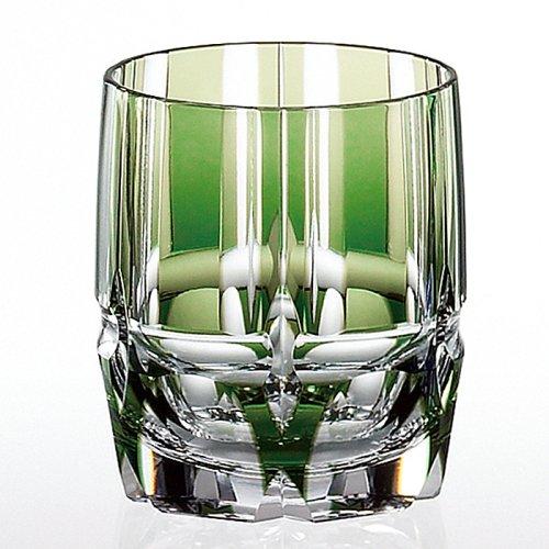 グラス好きな方へのプレゼントに 江戸切子 カガミクリスタル 日本製 特別セール品 竹の膳 カットグラス 店舗 ロックグラス T117-1908CGR オールドファッション グラス 敬老の日 タンブラー ご贈答 焼酎グラス お祝い 父の日 ギフト 緑 プレゼント