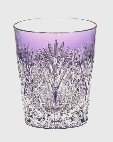 上部が薄い紫の切子グラスです カガミクリスタル 江戸切子 日本製 焼酎グラス 笹っ葉に麻の葉紋 T557-2472CMP 紫 タンブラー ロックグラス 父の日 当店人気商品 オールドファッション パープル 大規模セール グラス 敬老の日 営業