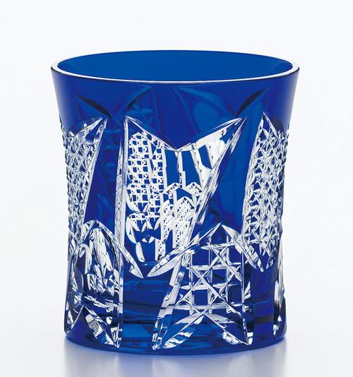 東洋佐々木ガラス 八千代切子 日本製【 八千代切子タンブラー(矢絣柄 やがすりがら)オンザロック LS19590SULM-C680 】マイグラス ロックグラス オールドファッション グラス タンブラー 焼酎グラス 父の日 青