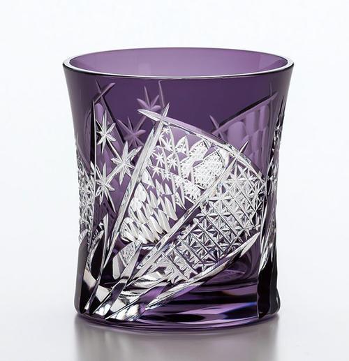 人気の高い紫の切子グラスです 東洋佐々木ガラス 八千代切子 日本製 現金特価 八千代切子タンブラー 扇柄 おうぎがら マーケティング オンザロック LS19590SP-C682 オールドファッション グラス タンブラー 紫 焼酎グラス マイグラス ロックグラス 父の日