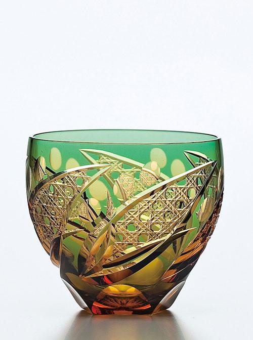 心安らぐ伝統模様の切子タンブラー 東洋佐々木ガラス 彩花切子 タンブラー 約310ml 緑 HG200-12GR マイグラス ギフト 父の日 プレゼント ロックグラス 緑色 ご贈答 最新 グラス 焼酎グラス