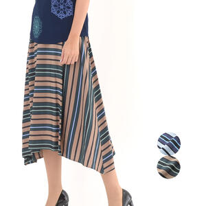 CEST MOI セモア マルチボーダー ミモレスカート ミセスカジュアル おしゃれ ファッション 40代 50代 春物 夏物 レディース 女性 ベージュ/ブルー【送料無料】