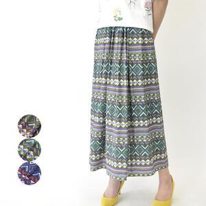 CEST MOI セモア スカート ミモレ ロング エスニック 夏物 ミセスファッション 40代 50代 【カーキ/グリーン/ブルー】