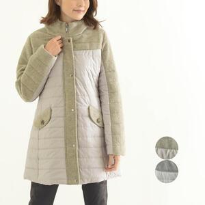 素材切り替え 中綿コート ウール アウター レディース ファッション 40代 50代 おしゃれ ミセス【ベージュ/グレー】
